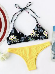Flower Print High Leg Self Tie Bikini Set
