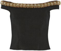 Simone Rocha Cropped bead-embellished felt top on shopstyle.com