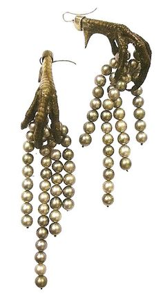 Tahitian pearl and pheasant claw earrings by Shaun Leane for McQueen Fall/Winter 01/02