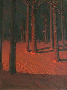 "transylmania: "" Sven Svendsen (Norwegian/American, Tree Trunks in Snow. Oil on canvas, 32 x 24 in. Arte Obscura, Southern Gothic, Tree Trunks, Arte Horror, Red Aesthetic, Simple Aesthetic, Jolie Photo, Oeuvre D'art, Dark Art"