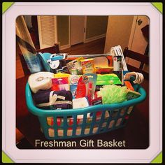 The Freshman Gift basket I made for my sister in law. It includes things like, laundry supplies, snacks, first aid supplies, cleaning supplies, and general necessities for dorm life.