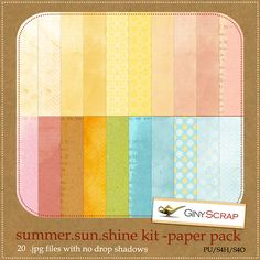 Summer.sun.shine paper pack by Giny Scrap