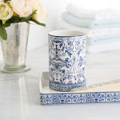 Birch Lane Porcelain Tumbler, Blue & White | Birch Lane