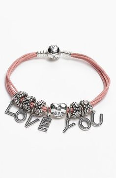 PANDORA bracelet with 'love you' charms
