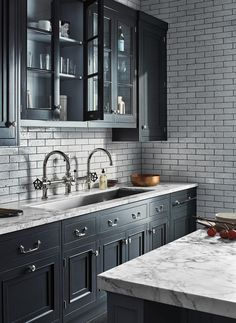 Exclusive, handcrafted custom cabinetry designs, in styles from modern to traditional. Kitchen Decor, Kitchen Inspiration Design, Kitchen Inspirations, New Kitchen, Kitchen Style, Waterworks Kitchen, Kitchen Interior, Home Kitchens, Luxury Kitchen