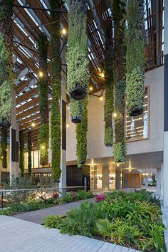 Sustainable Design Innovation: Perez Art Museum Miami Perez Art Museum (Miami) features a hanging garden. The building itself maximizes its exposure to natural air flow and the cooling power of plants. Ronstan support rods were used in this project. Spot Design, Nachhaltiges Design, Design Miami, Design Hotel, Wall Design, Interior Design, Green Architecture, Landscape Architecture, Cultural Architecture