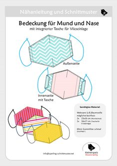 Instructions and sewing pattern cover for the mouth and the nose // Not a medical product Knitting Websites, Knitting Blogs, Diy Mask, Diy Face Mask, Diy Furniture Couch, Child Models, Patch, Free Pattern, Sewing Projects