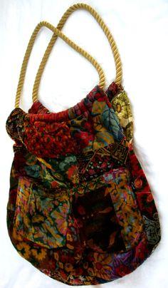 GYPSY Velvet texture Hobo Sling HIPPIE CHIC Purse Old Drapes Interior. $62.00, via Etsy.