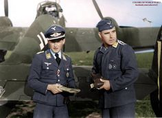 Pilot and gunner standing next to their Bf-110.