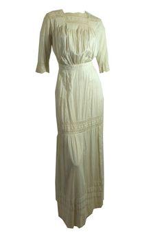 Romantic White Cotton and Lace Blouson Dress circa Early 1900s - Dorothea's Closet Vintage