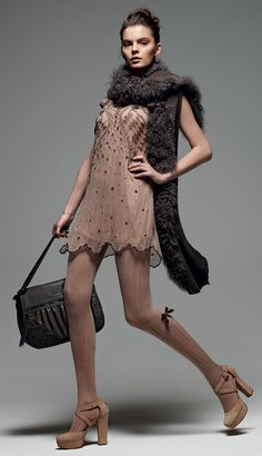 "TWIN-SET Simona Barbieri: ""Sweet Luxury"": embroidered silk dress and suede décolleté shoe."