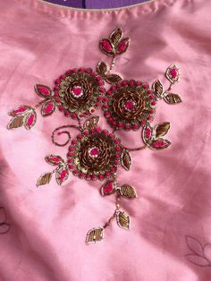 Colors & Crafts Boutique™ offers unique apparel and jewelry to women who value versatility, style and comfort. For inquiries: Call/Text/Whatsapp Zardosi Embroidery, Embroidery On Kurtis, Kurti Embroidery Design, Embroidery Neck Designs, Hand Work Embroidery, Embroidery Suits, Indian Embroidery, Hand Embroidery Patterns, Beaded Embroidery