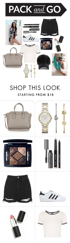 """""""Airport Vibes"""" by maya11499 ❤ liked on Polyvore featuring Givenchy, FOSSIL, Christian Dior, Bobbi Brown Cosmetics, Topshop, adidas and Sigma Beauty"""