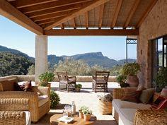 Mirador al Paisaje . . . Mirador Landscape - The mountains offer the porch his magic show. The wicker chairs are Janer decoration. . . . Una Casa Mallorquina de Obra Nueva (A Mallorcan New House)