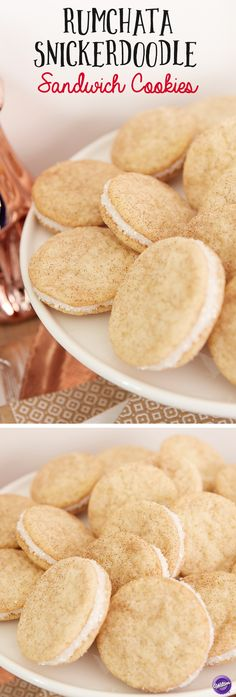 RumChata Snickerdoodle Sandwich Cookies - One of your holiday favorites just got better! The classic snickerdoodle gets a yummy RumChata update in this easy to make holiday cookie recipe. This kid's cookie is all grown up—great for adult holiday parties or a fun girls' night out gift exchange goodie!