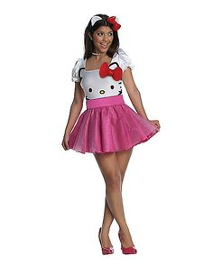 """All the boys will be saying """"Hello Kitty!"""" when you don this sexy Classic Hello Kitty Womens costume. This great Japanese icon comes to life as a cute dress and matching headband. The dress includes the iconic Hello Kitty face and a sparkly pink sk Hello Kitty Halloween Costume, Pink Halloween Costumes, Pink Costume, Adult Costumes, Costumes For Women, Adult Halloween, Halloween City, Anime Halloween, Pretty Halloween"""