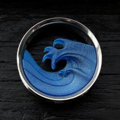 Wave Plugs 1 Inch  2 Inch Blue Ocean Tunnels by OjingoStudio