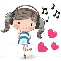 Menina com fones de ouvido vetor e ilustração royalty-free royalty-free