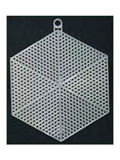Six clear plastic canvas hexagon shapes.