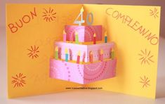 Pop-up birthday cake card Birthday Cake Card, Cute Birthday Cards, Free Gift Cards, Diy Cards, Pop Out Cards, Tarjetas Pop Up, Beautiful Birthday Cards, Fall Crafts For Kids, Paper Cards