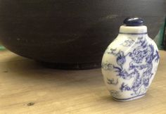 Blue and white snuff bottle by Mallingbournes on Etsy