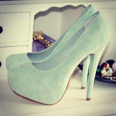 Fancy - Mint Suede Platform Pumps on We Heart It Mint Heels, Green Heels, Blue Pumps, White Pumps, Cute Shoes, Me Too Shoes, Fab Shoes, Dream Shoes, Shoe Boots