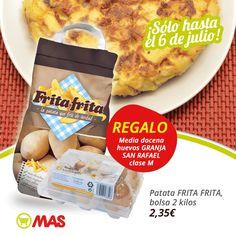 Hoy cena casera: con la compra de patatas para freír, te regalamos media docena de huevos! Ya tienes lista la tortilla de patatas ;-)