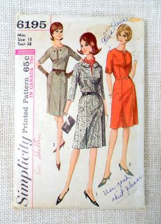 Hey, I found this really awesome Etsy listing at https://www.etsy.com/listing/245089395/vintage-pattern-simplicity-6195-dress