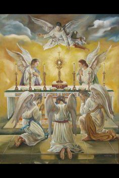 Angylion: Angels and all of Heaven are present at every mass to worship Jesus in the Eucharist. But our unbelief does not allow us to see. Catholic Art, Religious Art, Roman Catholic, Jesus Christus, I Believe In Angels, Religious Pictures, Angels In Heaven, Heavenly Angels, Guardian Angels