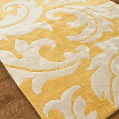 """Modern Renaissance Scrolling Leaves Plush Rug:  4 Colors Sumptuous colors, pattern and comfort (1/2"""" pile) define this plush handtufted wool and viscose """"silk"""" rug. Bold pattern softened by the thick construction and irresistable hues: Marigold yellow and cream; Aqua and cream; Mocha Brown and Cream; or deep Brown and fresh Spring Green"""