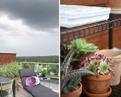 STRESSFRI SONE: En solid, men mobil solseng fra Ikea gjør det enkelt å slappe av, ytterst på terrassen. Trillebordet er fra Milla Boutique, og putene er fra Eske. Herfra dras blikket forbi byggefeltet og langt inn en skog som begynner å ligne på villmark. Outdoor Furniture, Outdoor Decor, Hygge, Garden, Home Decor, Terrace, Garten, Decoration Home, Room Decor