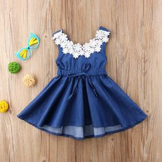 Aliexpress 2018 Summer Childrens Clothing Europe And The United States Imitation Cowboy Lace Dress Baby Girl Clothes Girls Dress on Aliexpress IFound And Baby Children's Clothing Girls Lace Note on Sizing: Some garments tend to run small. Denim And Lace, Floral Denim, Blue Denim, Toddler Outfits, Kids Outfits, Toddler Girls, Baby Girls, Cute Blue Dresses, Dresses Kids Girl