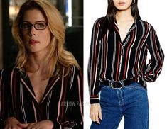 "Felicity Smoak wears this black, white, and red striped Topshop ""Jessica"" shirt on Arrow Grey Leather Jacket, Grey Bomber Jacket, Detective Outfit, Marled Sweater, Cool Outfits, Fashion Outfits, Color Block Sweater, Red Blouses, Iris West"
