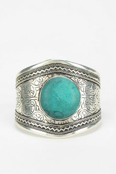 Emerald Etched Stone Cuff Bracelet #urbanoutfitters
