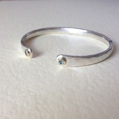 Honeybourne Jewellery Aquamarine Torc Bangle | Men's Jewellery * Chunky solid silver * 9ct gold * birthstone * POA.