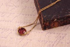 Avon Burgundy Wine Gold Tone Necklace  Vintage 1979 by FrogTears