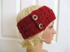 Crocheted HeadbandEarwarmerRed with Buttons by RoseJasmine on Etsy, $16.00
