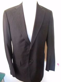 BROOKS BROTHERS Men's Size 38 R Navy Blue Pinstriped Blazer Jacket  #BROOKSBROTHERS #TwoButton