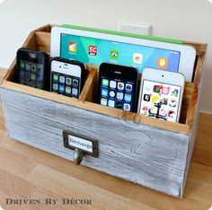 Turn a desk organizer into a family charging station in just a few simple steps!