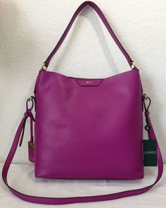 Ralph Lauren Winchester Hobo Purple Leather Crossbody Bag Purse Handbag Black #RalphLauren #Hobo