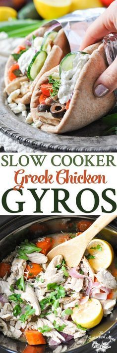 Recipes Lunch Loaded with plenty of fresh herbs, garlic, and Mediterranean flavor, these Slow Cooker Greek Chicken Gyros are a healthy dinner! Crock Pot Slow Cooker, Crock Pot Cooking, Slow Cooker Recipes, Cooking Recipes, Crockpot Meals, Crock Pot Dinners, Crockpot Potluck, Healthy Crock Pot Meals, Greek Gyros