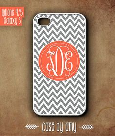Monogrammed  iPhone 4/4s, iPhone 5, Samsung Galaxy S3 - Accessories for iPhone - Chevron coral case for iPhone, Galaxy Case - $16.80  at http://casebyamy.etsy.com