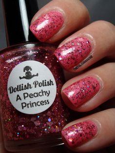 Dollish Polish A Peachy Princess over China Glaze Naked! Nails.