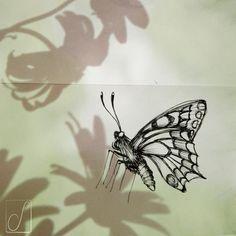 #unabellagiornata 282/365 #inktober2017 giorno 10 Papilio machaon- Non dimenticate di piantare qualche carota o finocchio in vaso o nel giardino...un metodo sicuro per avere queste socievoli farfalle a svolazzarvi in giro #inktober #inktoberaduntratto #passoasei #insetti #sketchbook #shadow #machaon