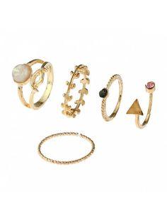 Alloy Faux Gem Triangle Leaf Ring Set - GOLDEN