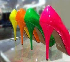 Neon Pumps my-style Neon High Heels, Neon Pumps, Bright Heels, What's My Favorite Color, My Favorite Things, Neon Colors, Rainbow Colors, Bright Colors, Neon Rainbow