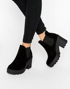 Shop Truffle Collection Chunky Heel Chelsea Boot at ASOS. Chunky Heel Chelsea Boot, Black Chelsea Ankle Boots, Black Ankle Booties, Black Block Heel Boots, Beatle Boots, Womens Boots On Sale, Funky Shoes, Latest Fashion Clothes, Fashion Online