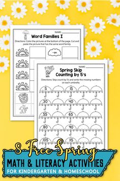 Are you looking for some FREE printable worksheets for kindergarten are the perfect spring activities for your students. This set includes kindergarten activities such as all about me, coloring pages, kindergarten shapes, number activities, art projects and more. As a teacher I sent these printables home to my students as homework, Mother's Day Activities, Number Activities, Counting Activities, Spring Activities, Writing Activities, Literacy Worksheets, Math Literacy, Free Printable Worksheets, Homeschool Math