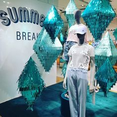 "GALERIES LAFAYETTE,Paris, France, ""Enjoy your summer break"", mannequins by COFRAD, pinned by Ton van der Veer"