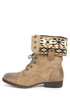BROWN FAUX LEATHER LACE UP FOLD OVER COMBAT BOOTS $28.99 | Shoes ...
